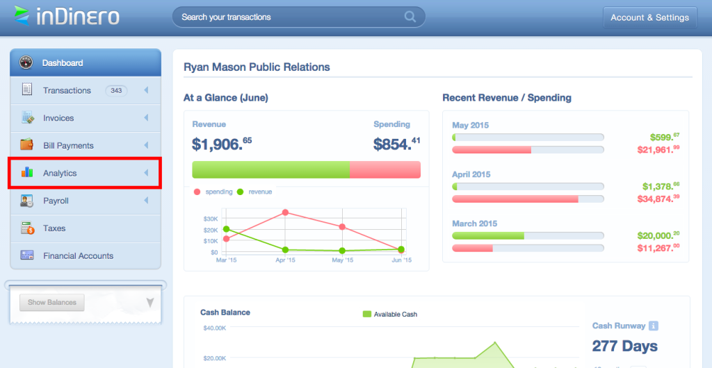 The analytics feature gives you access to all of your important accounting statements.