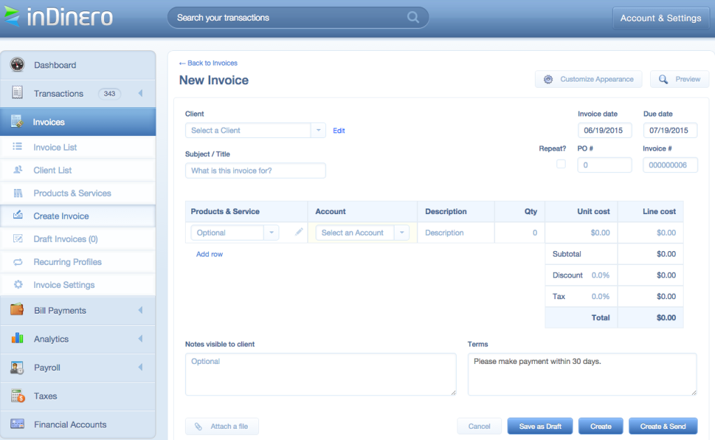 Here, you can create a new invoice and customize it to your brand's specifications.