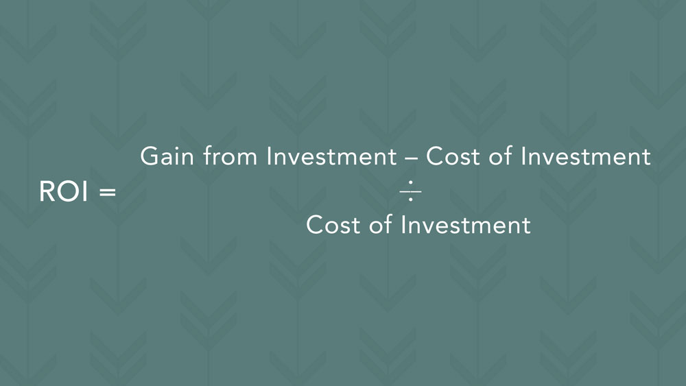 Accounting term: Here's how to calculate your ROI. Subtract the cost of your investment from the amount you've gained from your investment. Divide that by the cost of your investment.