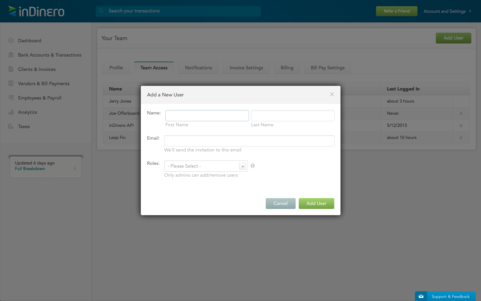 Add inDinero users and control their permission levels