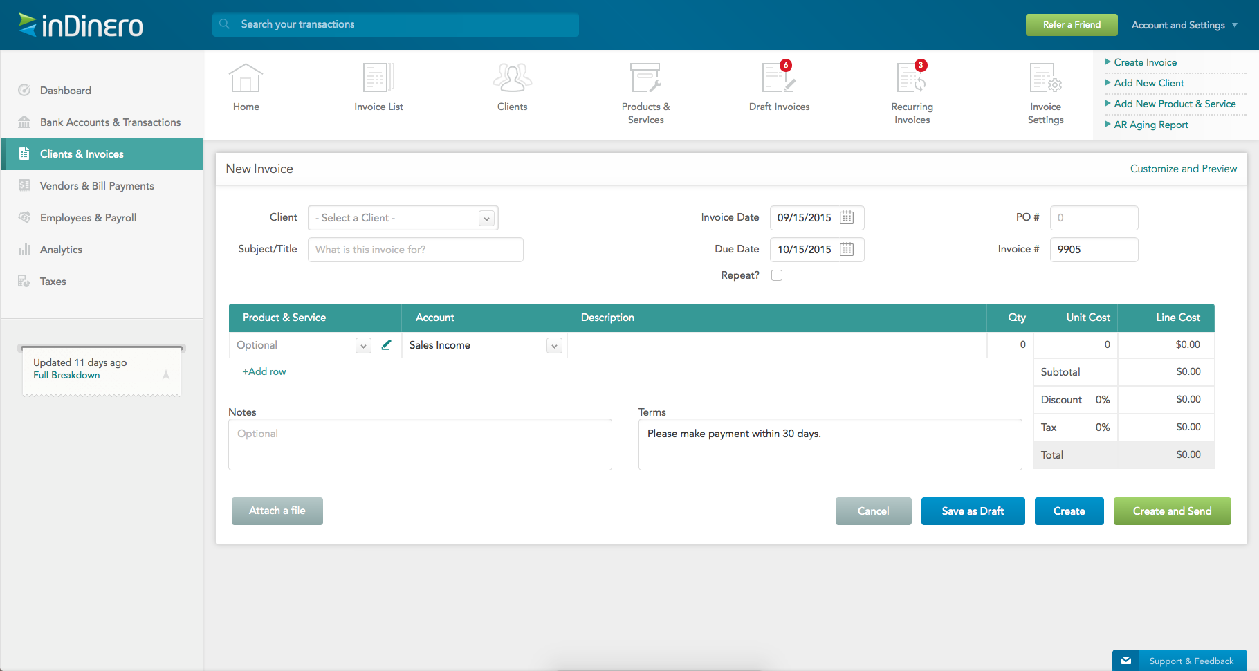 Here, you can create a new invoice and customize it to your brand's specifications using inDinero