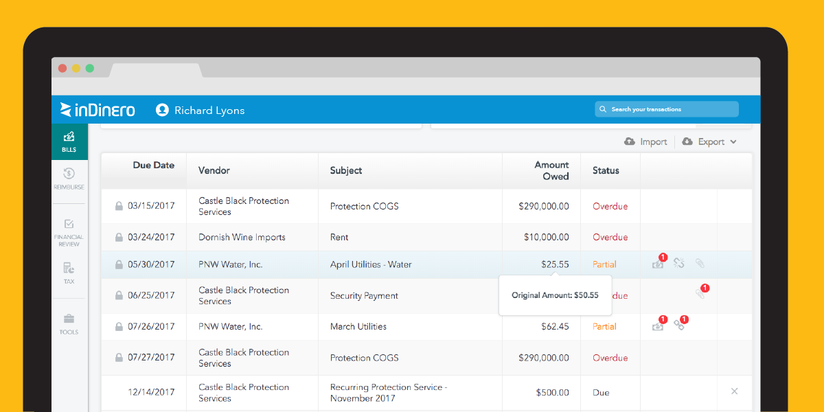 Cover Photo: Split up your business's bill payments using inDinero as your accounting software