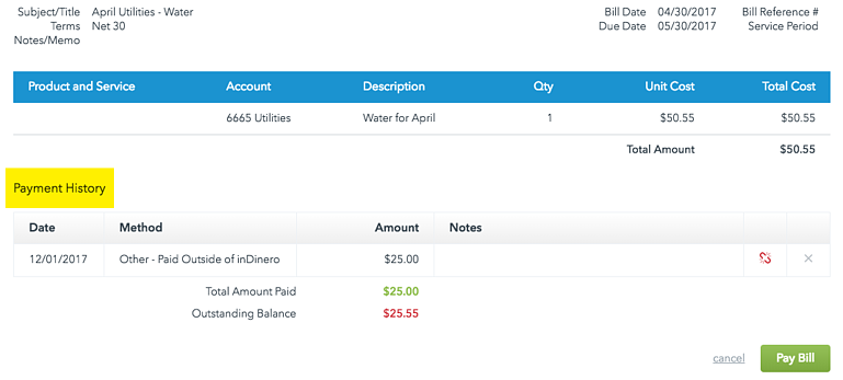 View your payment history to see which bills you've paid or partially paid using inDinero