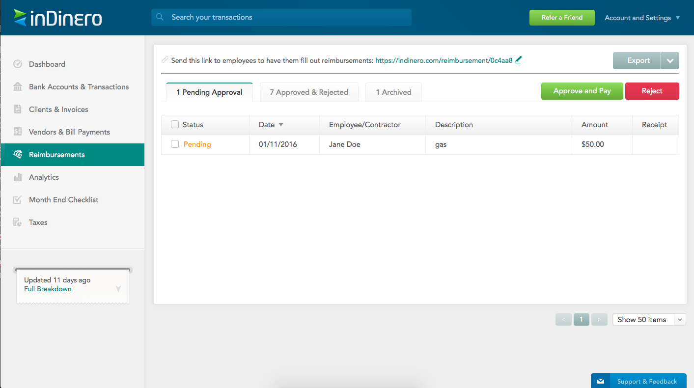 Submit, approve, reject, and monitor employee reimbursements using inDinero
