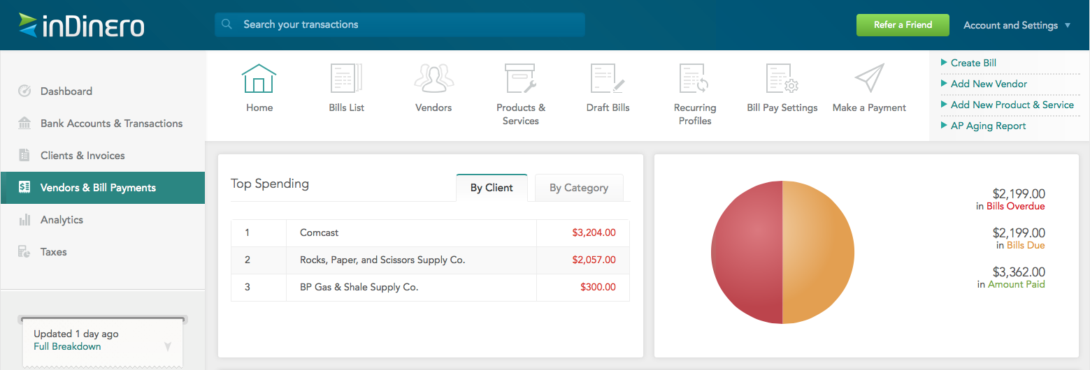 Full Service Bill Pay from inDinero streamlines our clients' small business operations